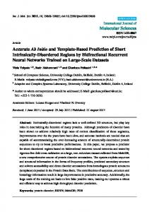 Accurate Ab Initio and Template-Based Prediction of Short ... - MDPI