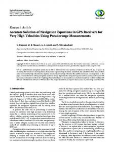 Accurate Solution of Navigation Equations in GPS Receivers for Very ...