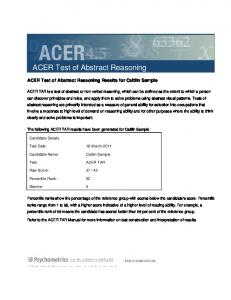 ACER Test of Abstract Reasoning