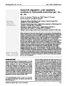 Acetonitrile degradation under haloalkaline conditions by ... - CiteSeerX
