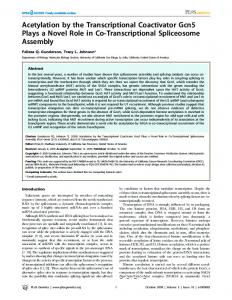 Acetylation by the Transcriptional Coactivator