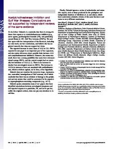 Acetylcholinesterase inhibition and Gulf War illnesses: Conclusions ...