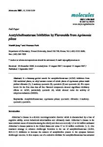 Acetylcholinesterase Inhibition by Flavonoids from Agrimonia pilosa