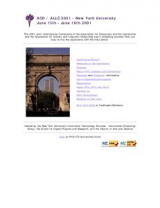 ACH-ALLC 2001 Conference Home Page