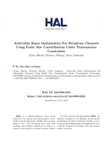 Achievable Rates Optimization For Broadcast Channels Using ... - Hal