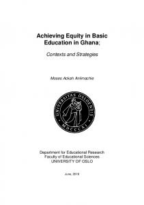 Achieving Equity in Basic Education in Ghana