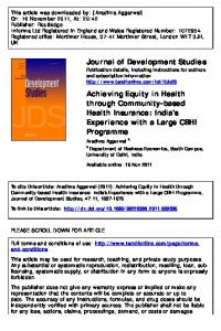 Achieving Equity in Health through Community-based Health
