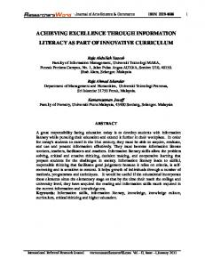 achieving excellence through information literacy ... - Researchers World