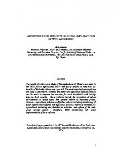achieving food security in china: implications of wto ... - AgEcon Search