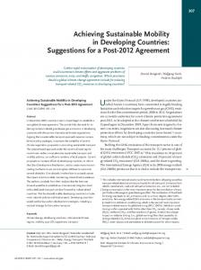 Achieving Sustainable Mobility in Developing Countries - Publication ...