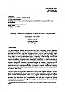 Achieving Transformative Change for Rural Women's Empowerment