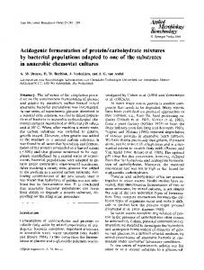 Acidogenic fermentation of protein/carbohydrate ... - Springer Link