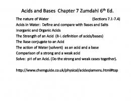 Acids and Bases Chapter 7 Zumdahl 6th Ed.