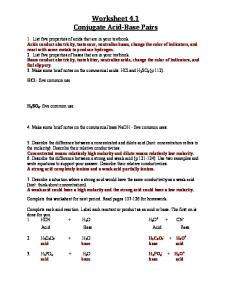 Acids Bases and Salts - Worksheet #1 answers - Chemalive