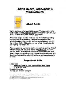 ACIDS, BASES, INDICATORS & NEUTRALIZERS - Science in ...