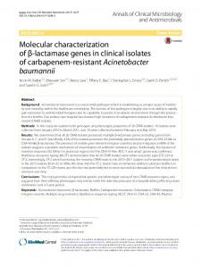Acinetobacter baumannii - Annals of Clinical Microbiology and ...