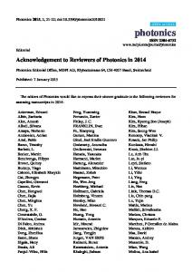 Acknowledgement to Reviewers of Photonics in 2014 - MDPI