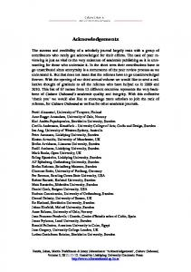 Acknowledgements - Culture Unbound