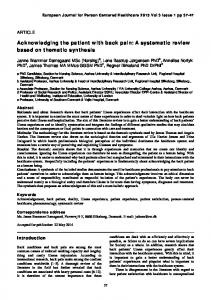 Acknowledging the patient with back pain: A systematic review ... - PURE