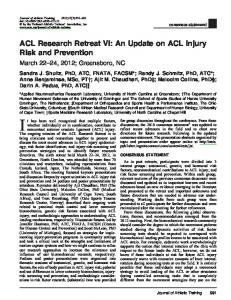ACL Research Retreat VI: An Update on ACL Injury ...