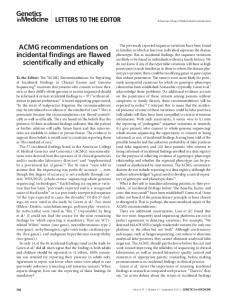 ACMG recommendations on incidental findings are ...