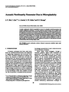 Acoustic Nonlinearity Parameter Due to Microplasticity - Springer Link