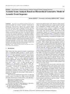 Acoustic Scene Analysis Based on Hierarchical Generative ... - J-Stage