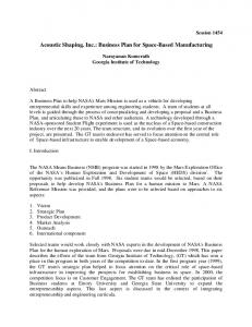 Acoustic Shaping, Inc.: Business Plan for Space-Based Manufacturing