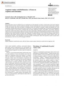 Acquired Amino Acid Deficiencies: A Focus on ... - Wiley Online Library