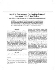 Acquired Arteriovenous Fistula of the Temporal ... - SAGE Journals