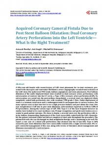 Acquired Coronary Cameral Fistula Due to Post