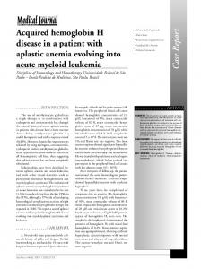 Acquired hemoglobin H disease in a patient with aplastic anemia