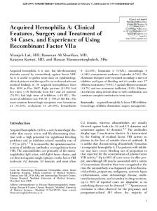 Acquired Hemophilia A - SAGE Journals