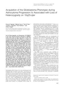 Acquisition of the Glioblastoma Phenotype during Astrocytoma ...