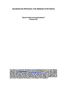 Acquisitions and Performance - SSRN papers