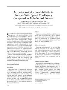 Acromioclavicular Joint Arthritis in Persons With Spinal Cord Injury ...
