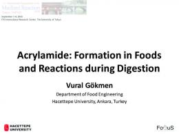 Acrylamide: Formation in Foods and Reactions during ...