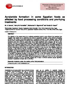 Acrylamide formation in some Egyptian foods as ... - Net Journals