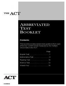 ACT - Abbreviated Test Booklet - Alex