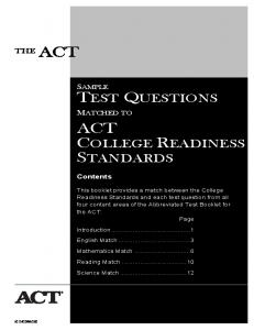 ACT - Sample Test Questions