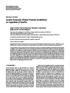 Actinic Keratosis Clinical Practice Guidelines: An Appraisal of Quality