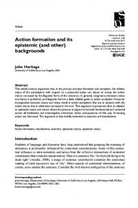 Action formation and its epistemic - UCLA Division of Social Sciences