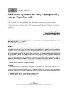 Action research processes in a foreign language ... - SciELO Colombia