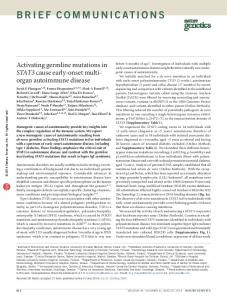Activating germline mutations in STAT3 cause early-onset ... - Nature