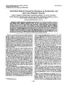 Activation Defects Caused by Mutations in Escherichia coli - Journal of ...