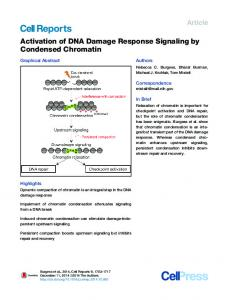 Activation of DNA Damage Response Signaling by Condensed ...