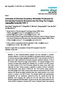 Activation of Dormant Secondary Metabolite ... - BioMedSearch