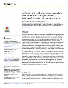 Activation of endothelial cells by extracellular vesicles derived ... - PLOS