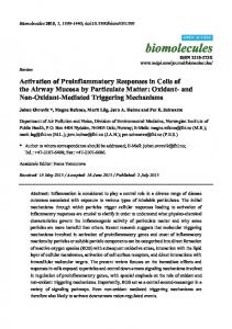 Activation of Proinflammatory Responses in Cells of the Airway ... - MDPI