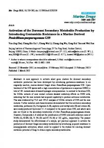 Activation of the Dormant Secondary Metabolite Production by ... - MDPI
